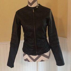 Vegan Faux Black Leather Moto Zippered Jacket - M